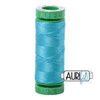 Aurifil 40wt Cotton Mako' 150m Spool - 5005 - Bright Turquoise