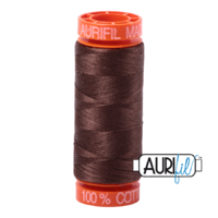 Aurifil 50wt Cotton Mako' 200m Spool - 1285 - Medium Bark