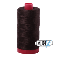 Aurifil 12wt Cotton Mako' 325m Spool - 1130 - Very Dark Bark