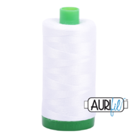 Aurifil 40wt Cotton Mako' 1000m Spool - 2024 - White